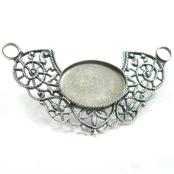 Oval 13-18mm with Filigree element pendant base
