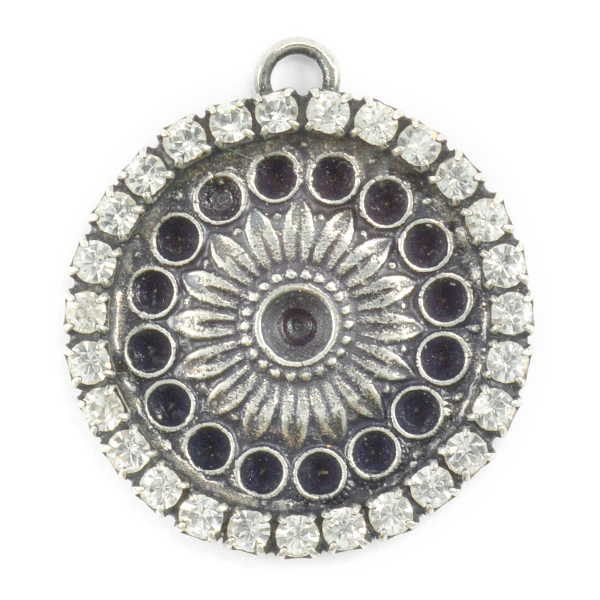 32pp and 18pp Fancy pendant base with top loop and crystals