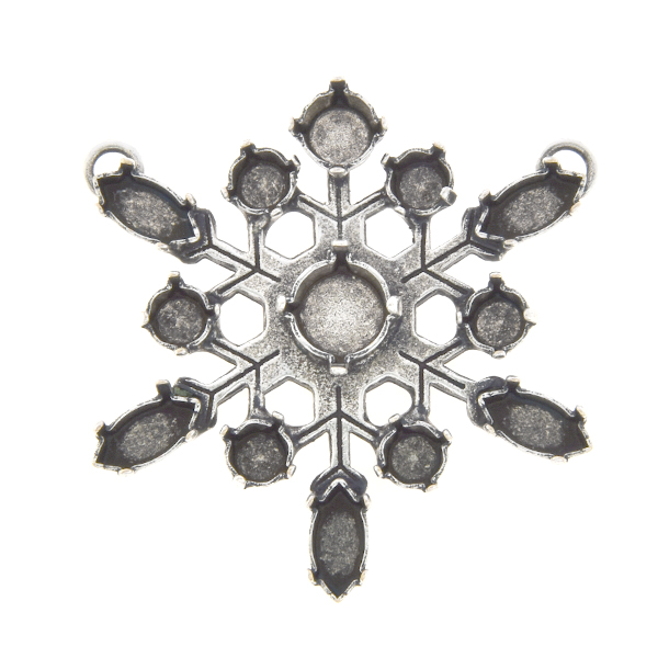 24ss, 29ss, 39ss, 10x5mm Navette Snowflake Pendant base with two loops