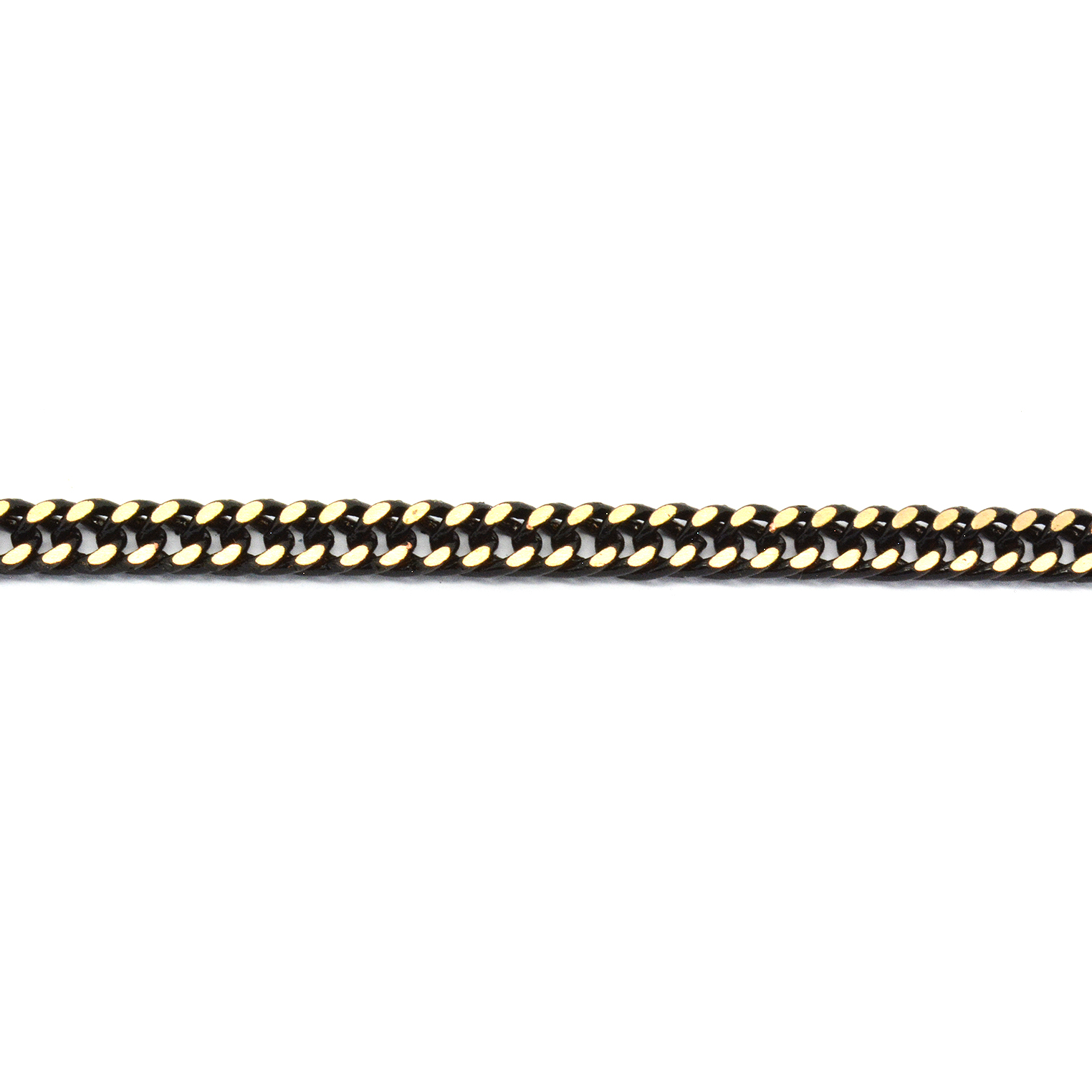Polished black enamel stainless steel curb (gourmette) chain 4.2mm