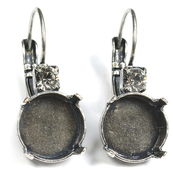 12mm Rivoli Lever back Earring settings with one top 32pp crystal