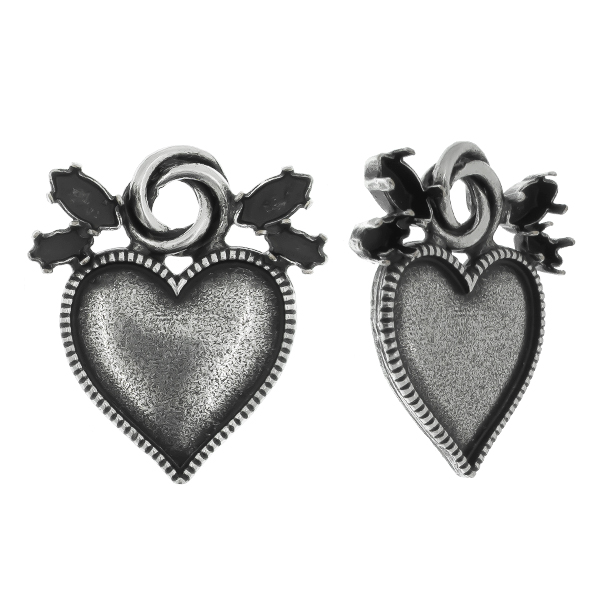 8x4mm, 6x3mm Navette 4228 settings with metal casting heart and round element Pendant base
