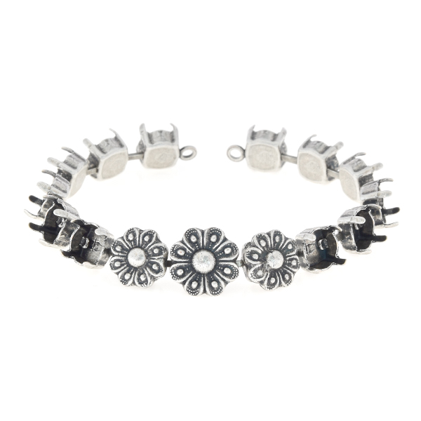 39ss cup chain bracelet base with flower elements - 15 settings