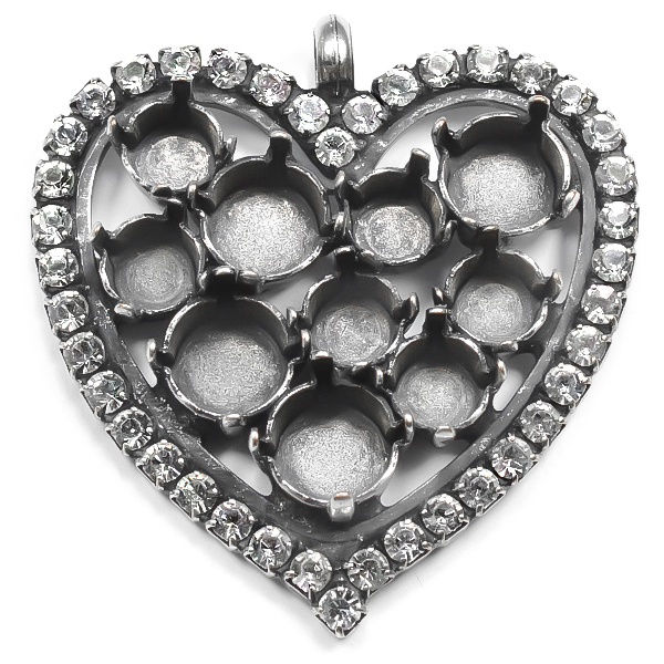 29ss and 39ss Heart pendant base with rhinestone