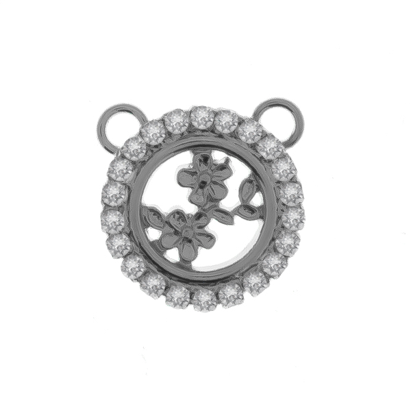 14mm framed Capucine Flower element with Rhinestones and two top loops