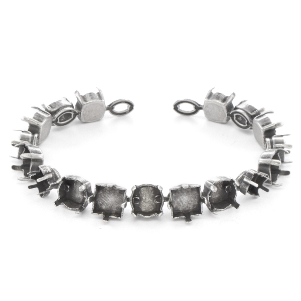 Cushion, Oval, Twister, Square and 39ss Cup chain Bracelet base - 17 settings