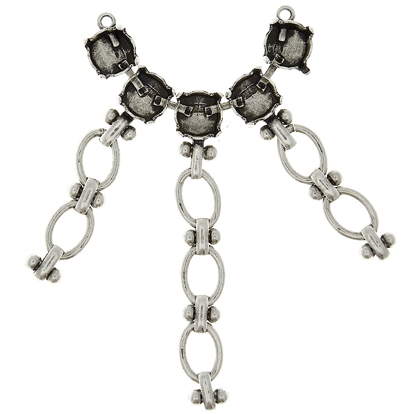 39ss stone settings cup chain decorated with anchor brass oval link chain Centerpiece for necklace base - 5 settings