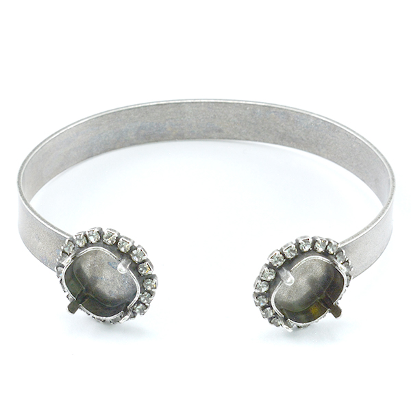 Square 12X12mm Bangle Bracelet base with crystals