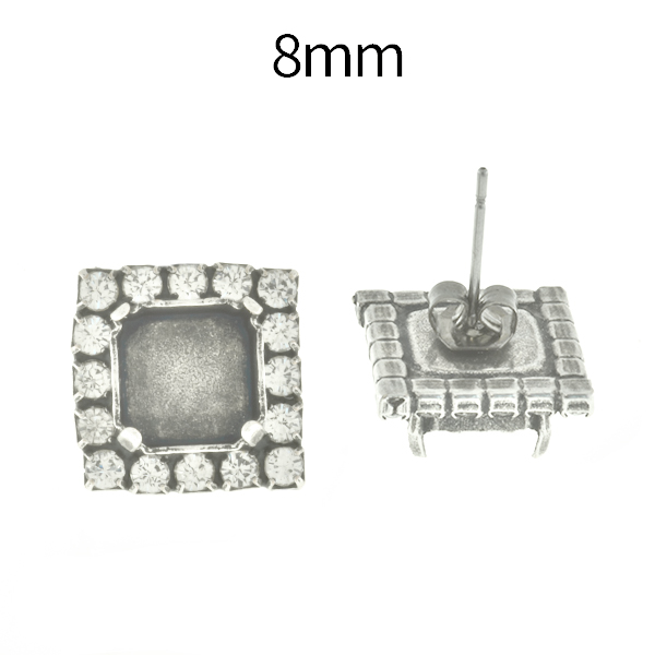 8mm Imperial 4480 Square Stud Earring bases with Rhinestoness
