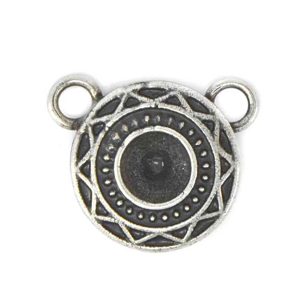 29ss Stone Setting decorated with Aztec Pattern and two top side loops
