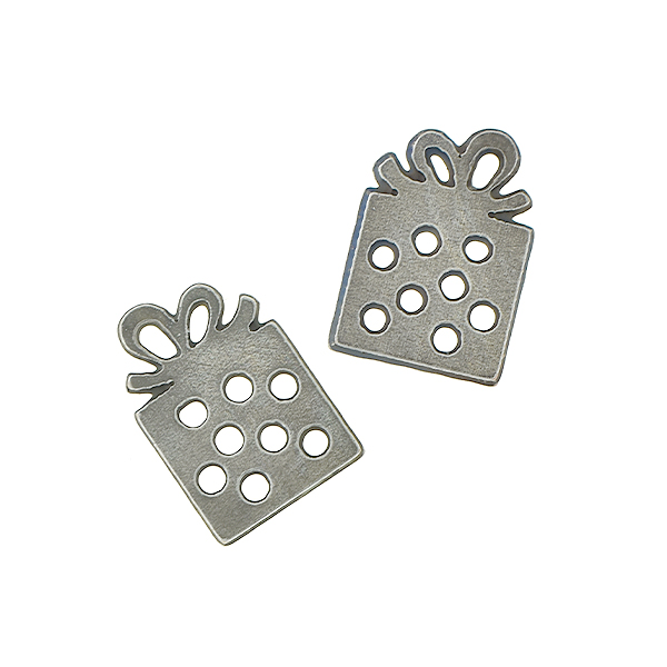 11.5x8mm Brass gift box charm with dots and top loop