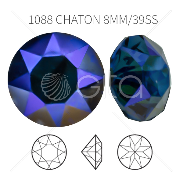 39ss/8mm Chaton 1088 Aurora Crystal Sapphire Shimmer