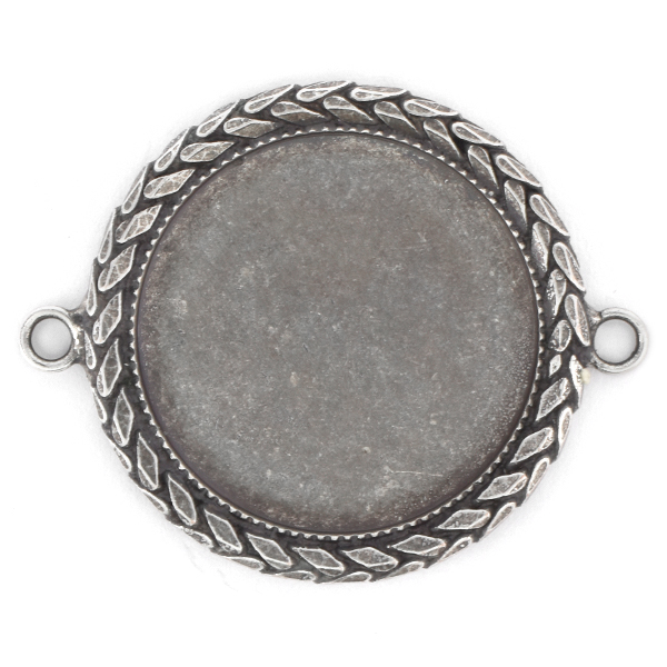 24mm Round Flat back Jewelry connector with Wheat chain and 2 side loops