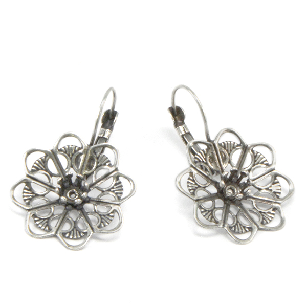 24ss crown setting with Filigree Flower earring bases