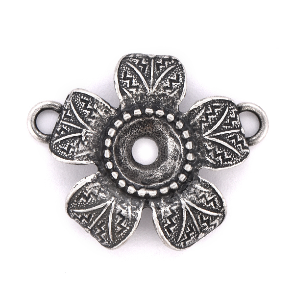 39ss metal casting flower pendant with two top loops