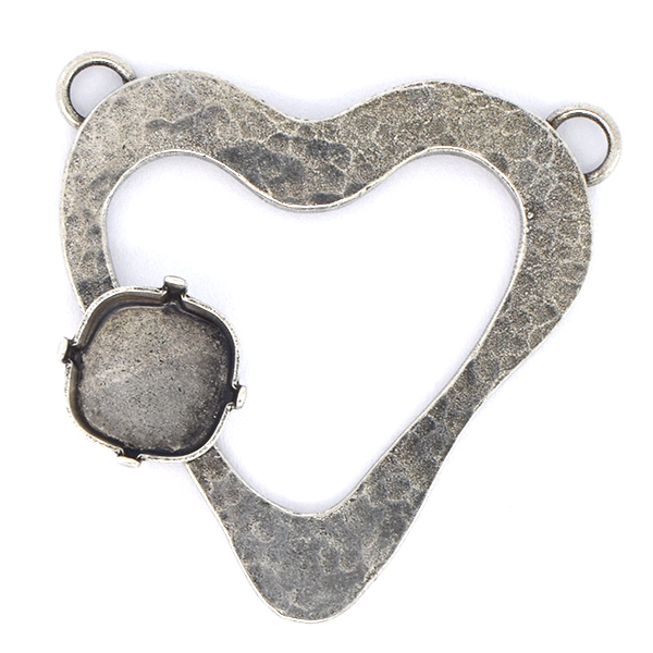12x12mm Square on Heart Pendant base with two top loops