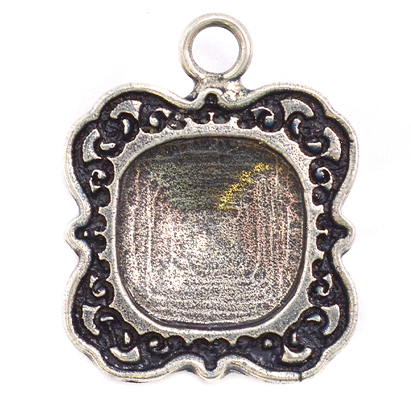 Decorated Square 4470 12-12mm stone setting with top loop