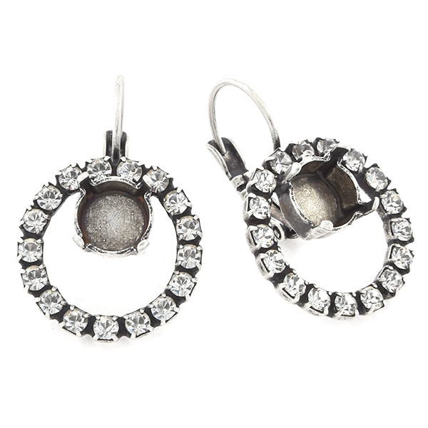 39ss in hollow circle of 18pp Rhinestones Lever back Earring base