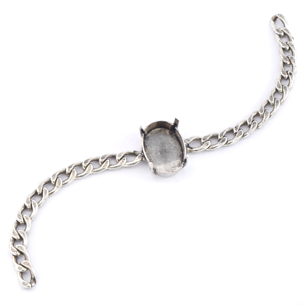 18x13mm Oval with 5mm Flat gourmette chain Bracelet base