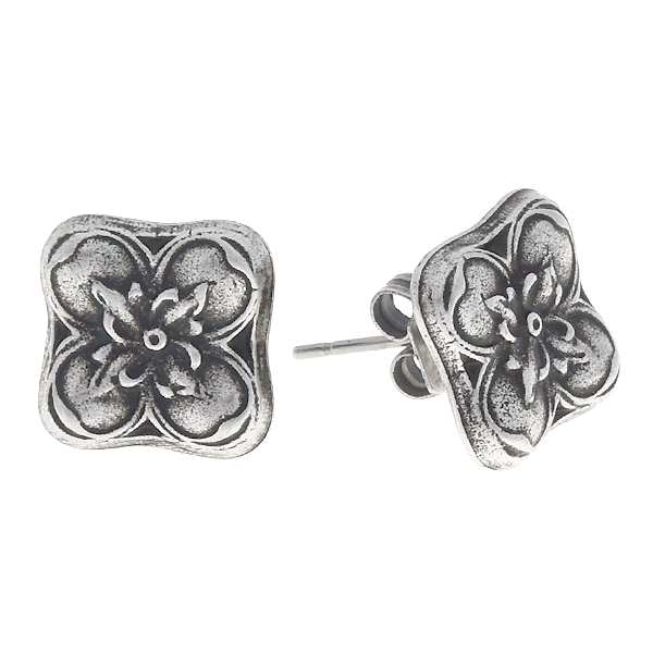 Floral square stud earring base