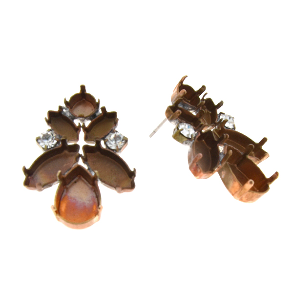 29ss, 5x10mm,15x7mm Navette and 18x13mm Pear shape stone settings with SW Rhinestone Stud Earring bases - Agnes Correll