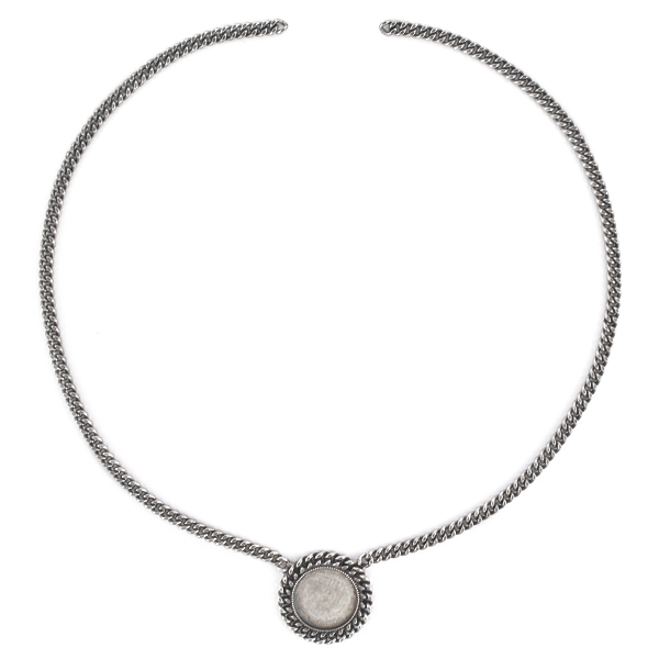 16mm Rivoli Flat back setting with Gourmette chain Necklace base