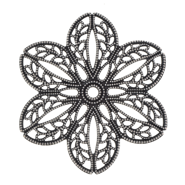 41mm Stamping metal filigree flower with convex petals and one hole in the center - 2pcs pack