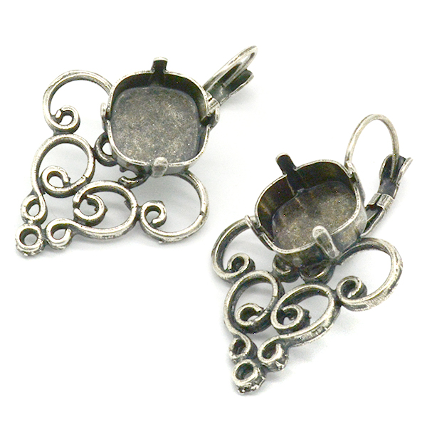 12x12mm Square Lever back Earring base with Filigree element
