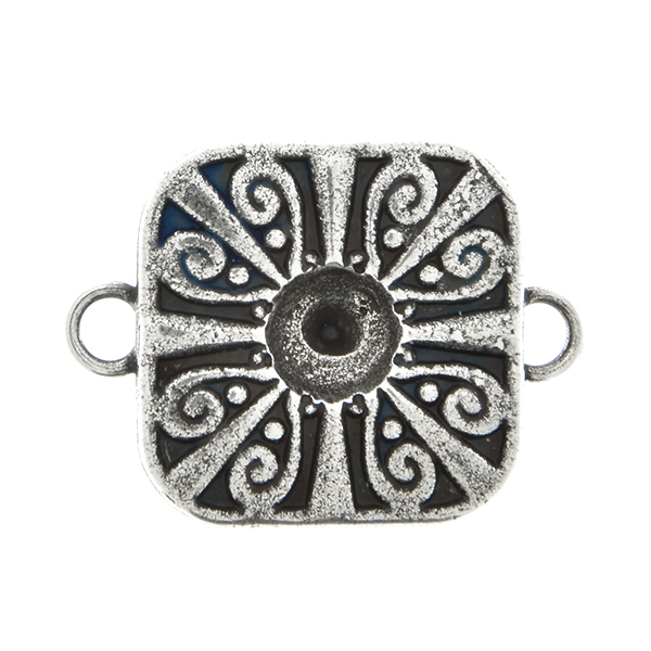 Metal casting Square Chinese ornament element for one 24ss crystal Connector base with two side loops