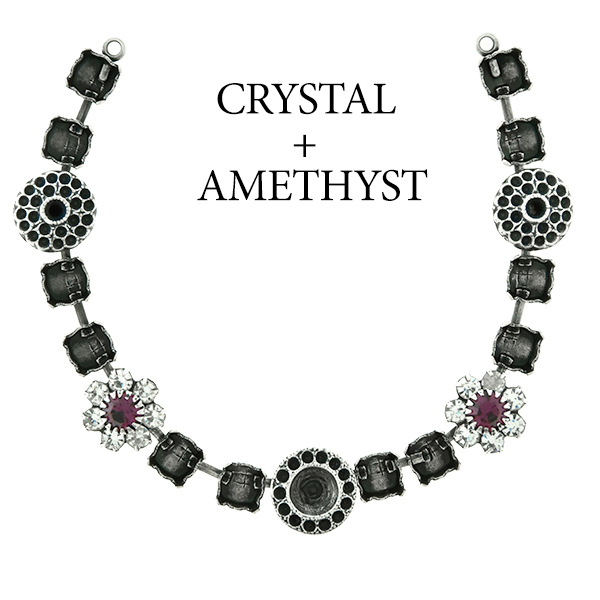 29ss cup chain and casting elements Necklace center piece with Swarovski flower elements Amethyst color