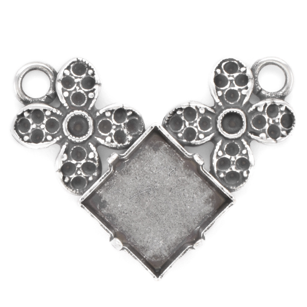 8pp, 18pp, 12x12mm Princess Square Pendant with flowers