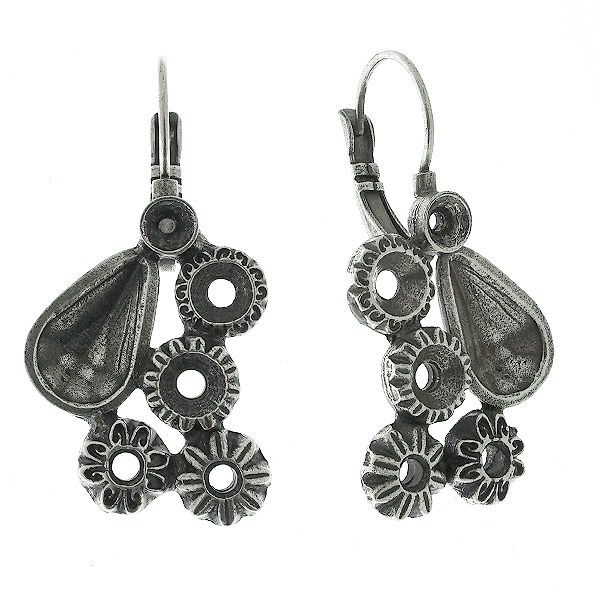 Empty Lever Back earring bases of mixed decorated settings in Art Nouveau style