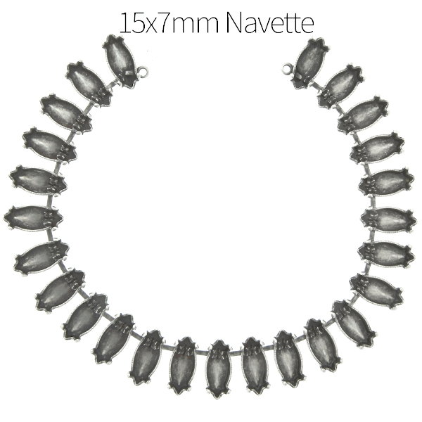 15x7mm Navette cup chain Necklace base