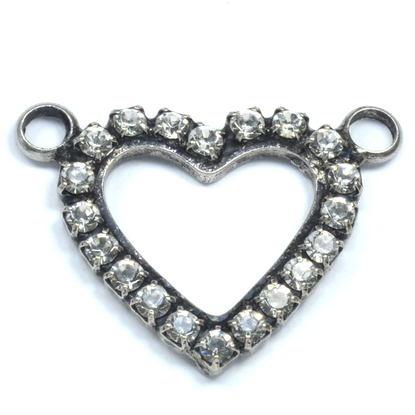 18-17mm Hollow Heart pendant base with 2 top side loops