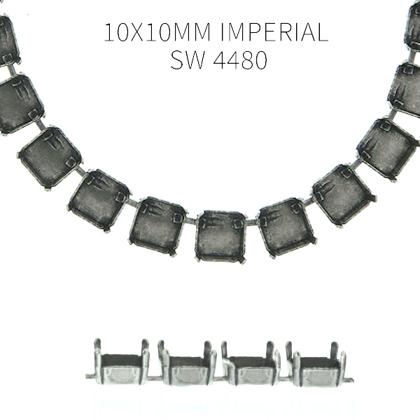 10x10mm Imperial 4480 empty Cup chain by meter for Necklace - 1 meter