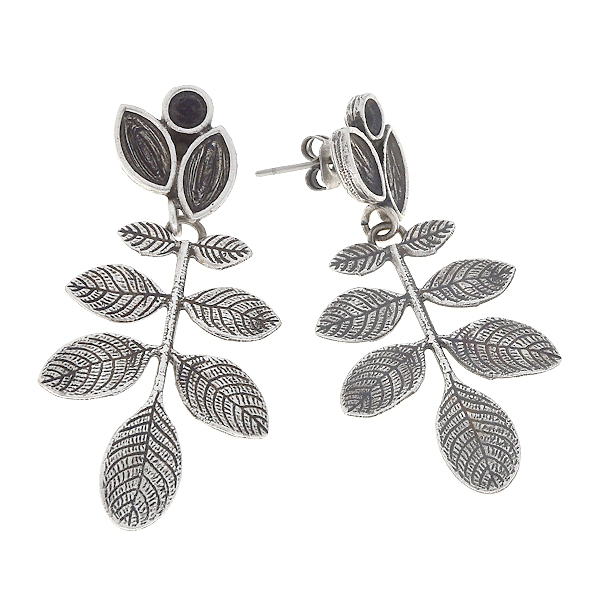 32pp, 8x4mm Navette, branch with leaves stud earring base