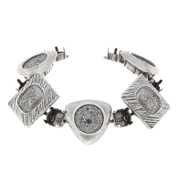 39ss, 12mm Rivoli, 12x12mm Square Bracelet base with triangle and square elements