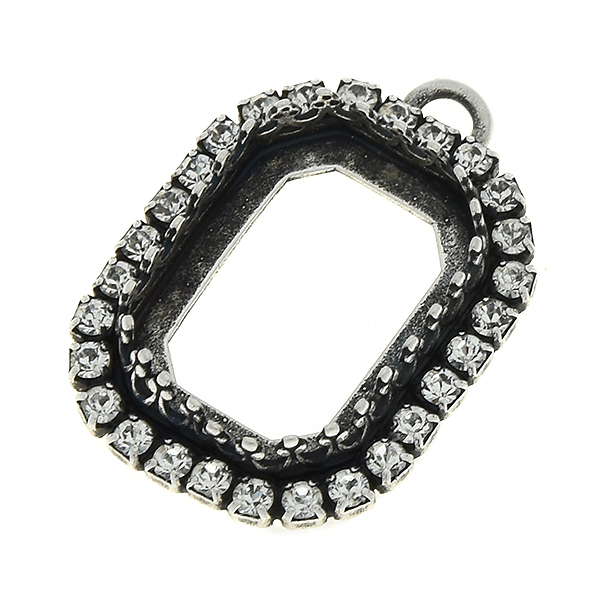 18x13mm Octagon Crown stone setting with one top loop and Rhinestones