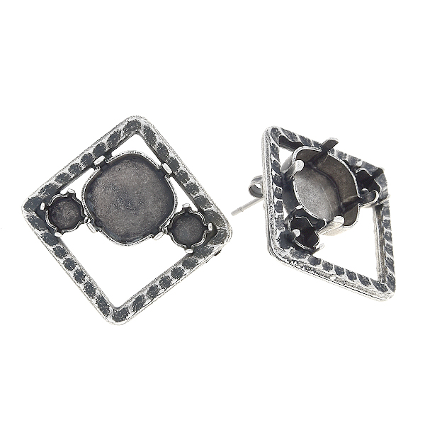 24ss, 12x12mm Square in hollow square stud earring base