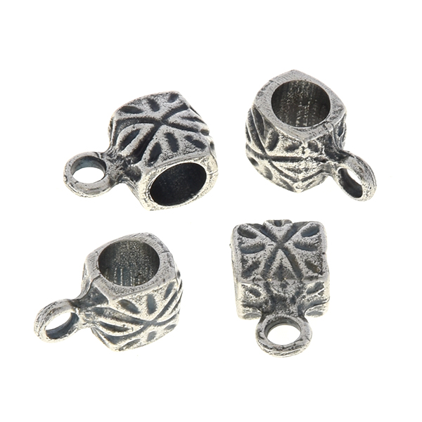 9mm Handmade metal beads with Aztec pattern and loop - 4pcs pack