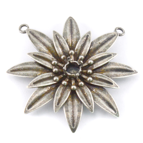 24ss Flower Pendant base with two top side loops