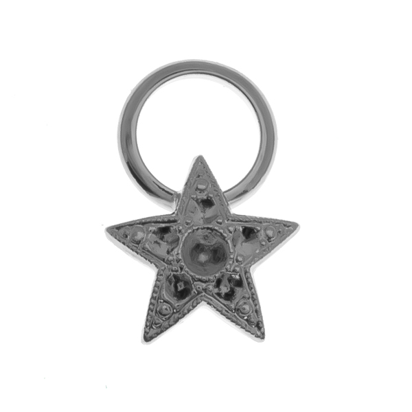 14pp, 24pp metal Star element with 11.5mm hollow circle element Charm/Pendant base