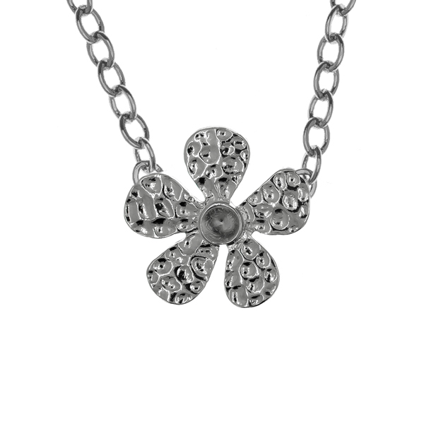 24ss metal stamping Flower with Rhinestones almost finished Solitaire Necklace