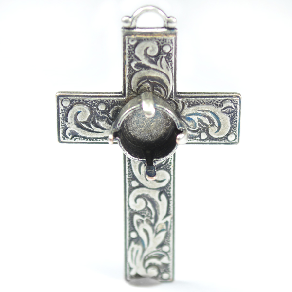 Decorated cross pendant base with 39ss setting
