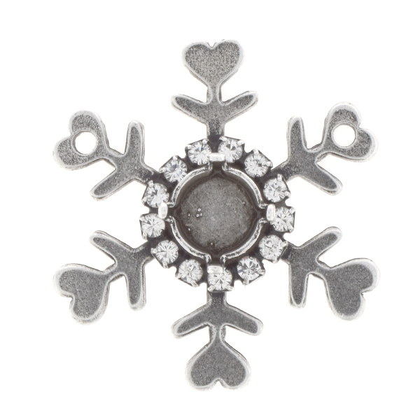 39ss Snowflake Pendant base with Rhinestones and 2 loops