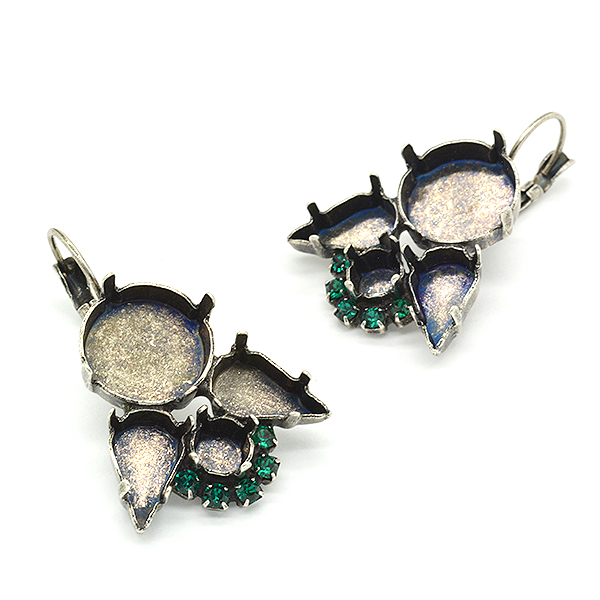 Mixed settings hanging earring bases with Crystals