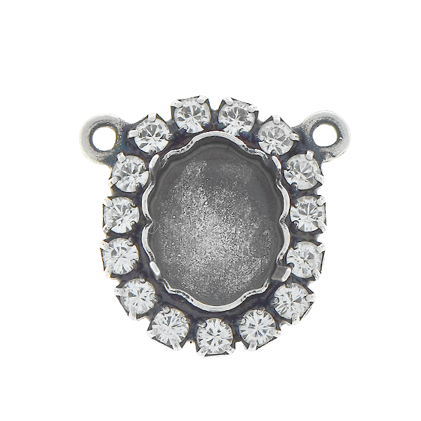 10x8mm Baroque Mirror stone setting with Rhinestones and two loops