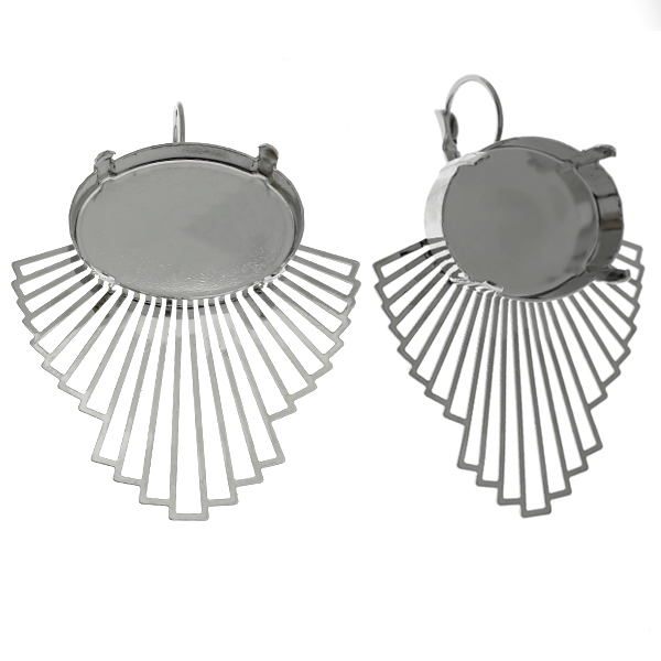 20x30mm Oval setting with laser cut fan element Lever back earring bases