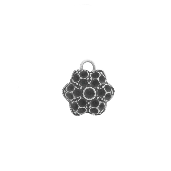 14pp, 18pp Small Decorative Flower metal casting Pendant base with one top loop