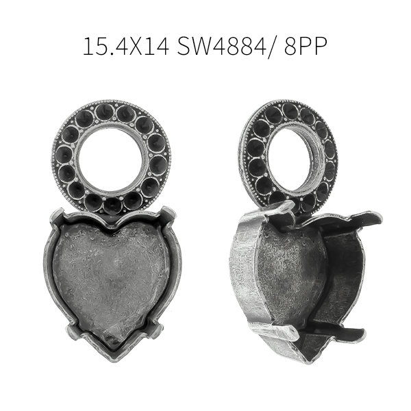 15.4x14mm Heart 4884 setting with metal casting round element Pendant base